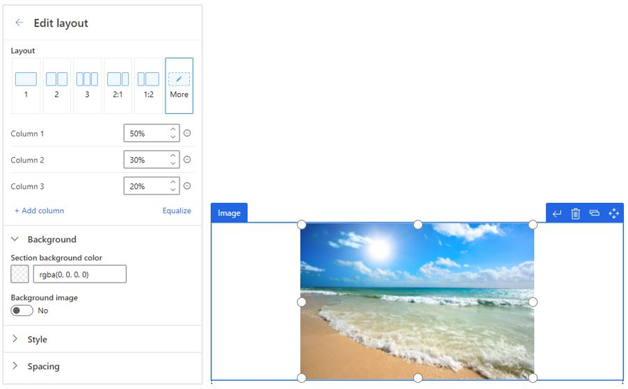 Improved control over layout and properties