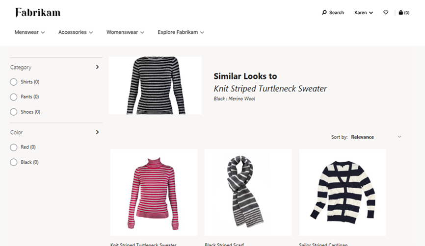 """A screen showing a range of striped clothing as part of a """"shop similar looks"""" query."""