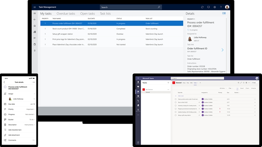 Three screens showing cross application functionality for task management in Microsoft Teams and Dynamics 365 Commerce