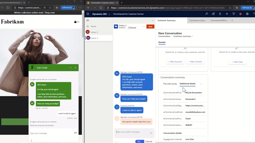 Two screens showing a customer's chat interaction with a virtual agent on a website and the same chat showing up for Customer Service agent in Dynamics 365