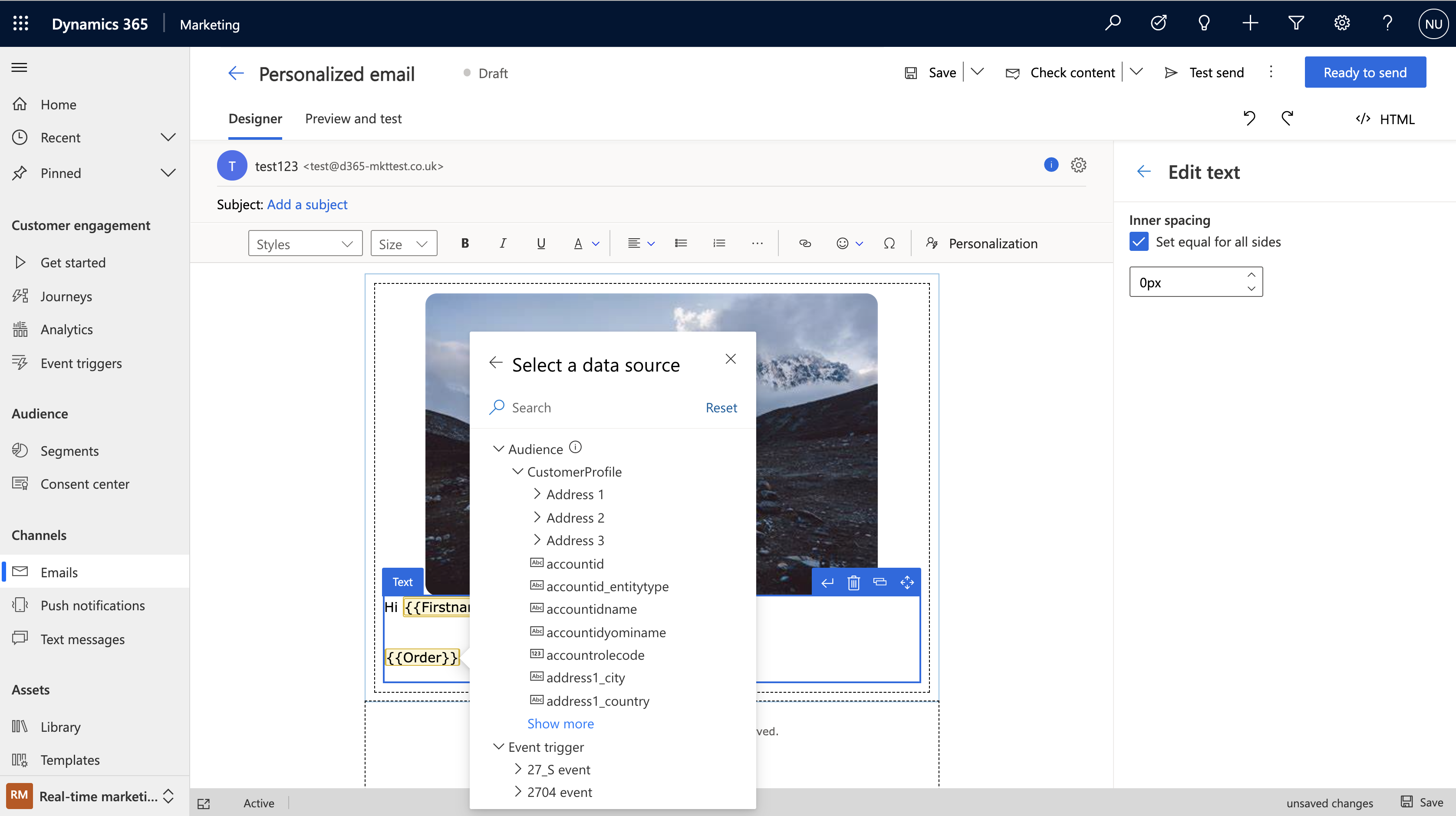 """With the click of the """"Personalization"""" button in the new Dynamics 365 Marketing email editor you can easily customize your messages."""
