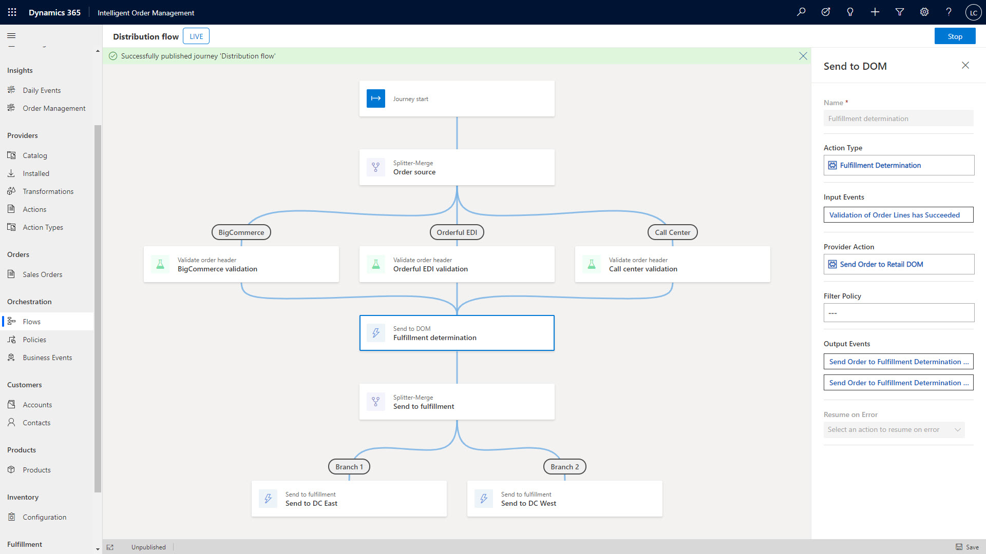an example of how the order orchestration designer tool can help modify the order journey