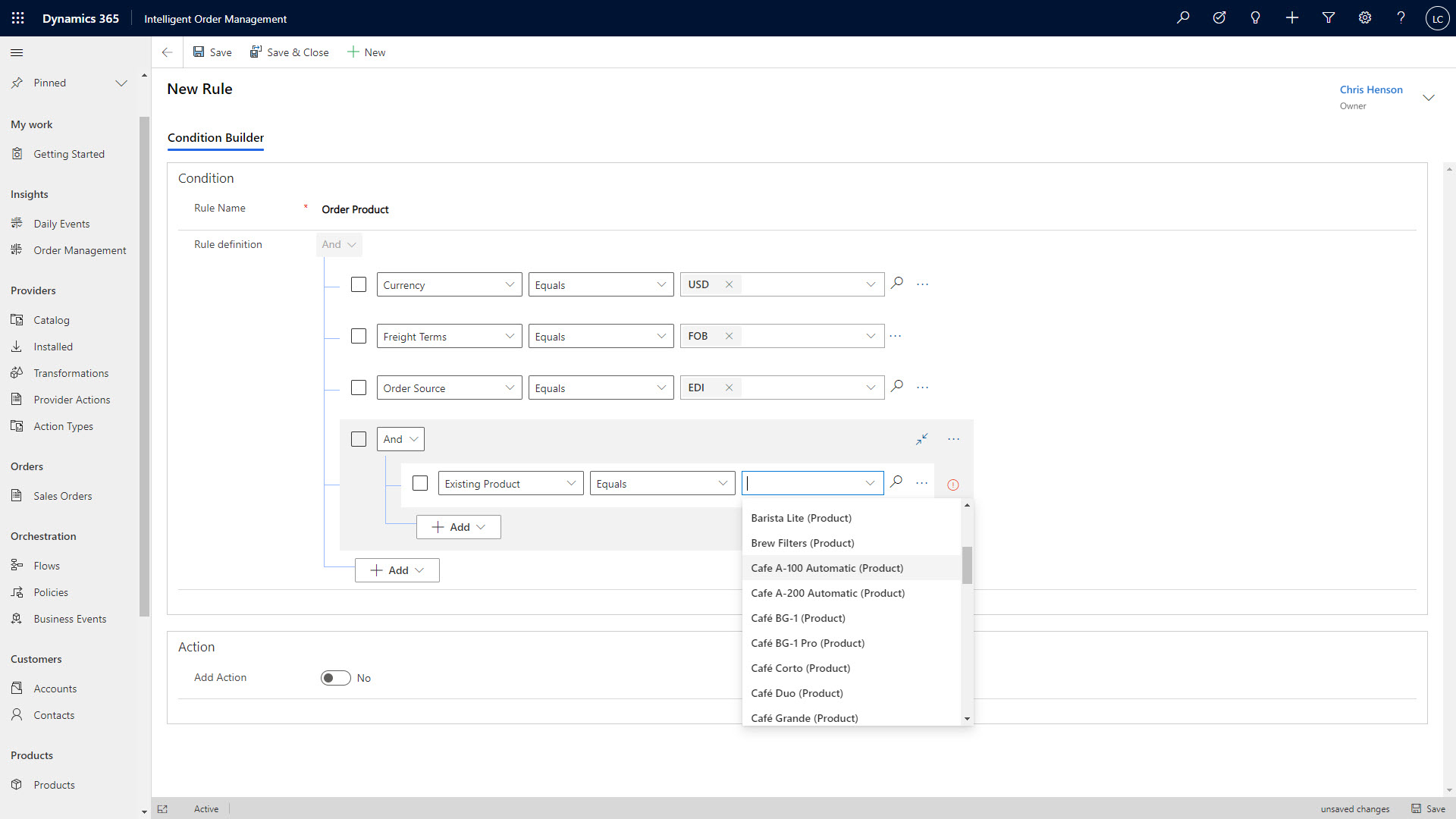 an example of rules-based order fulfillment orchestration