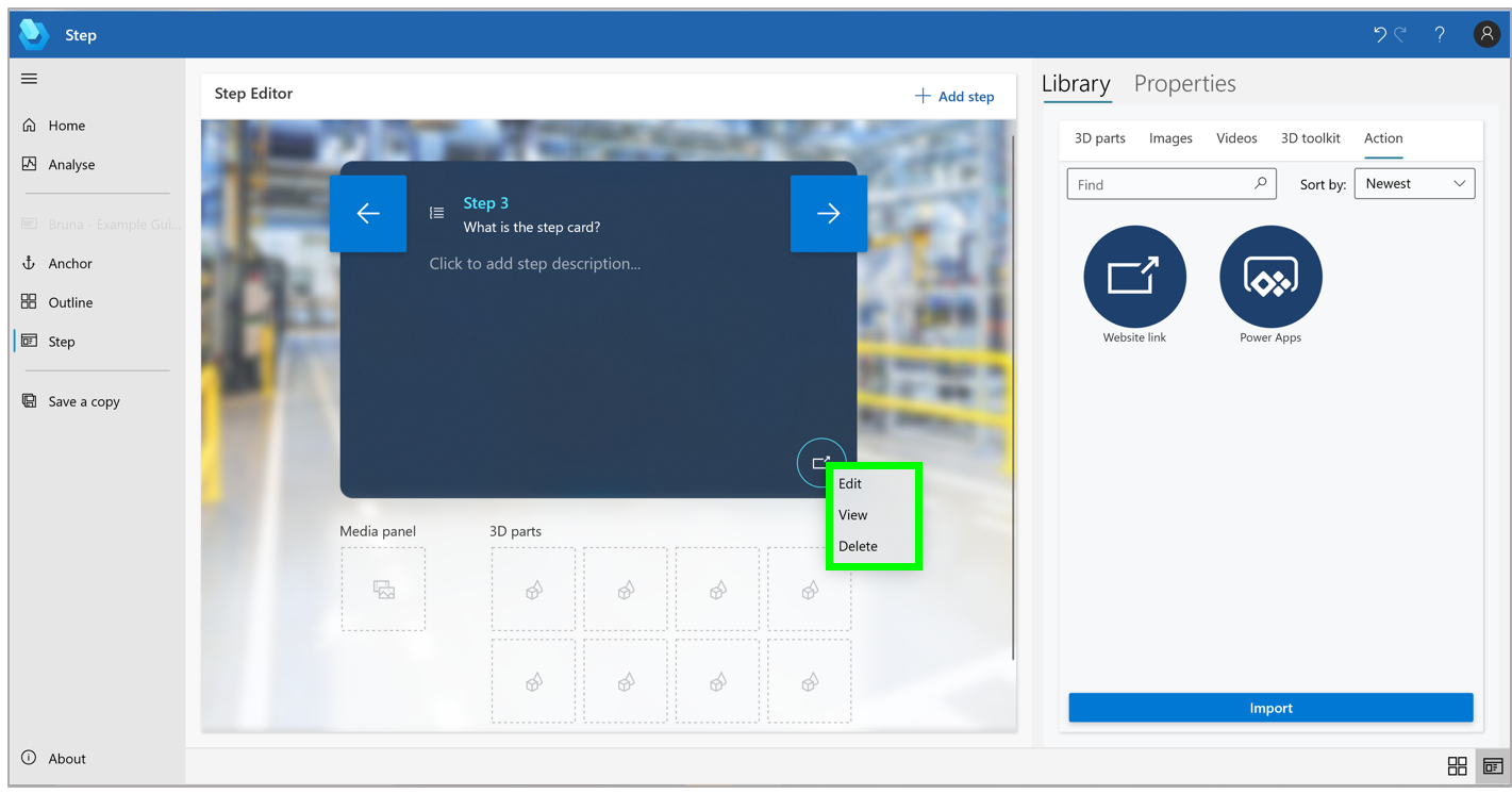 Guide that shows a step card where you can view, edit, or delete the link, right-click the Website link button in the Step Editor pane, and then select the appropriate command.