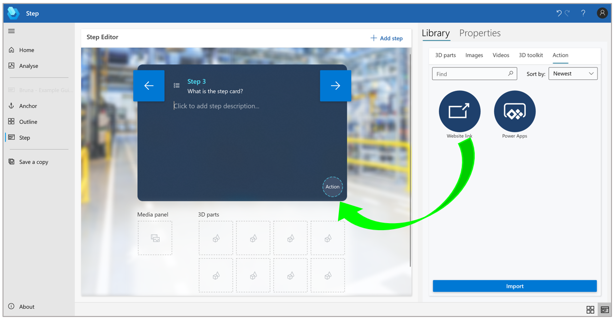 Drag the Website link circle to the Action circle in the lower-right corner of the Step Editor pane.