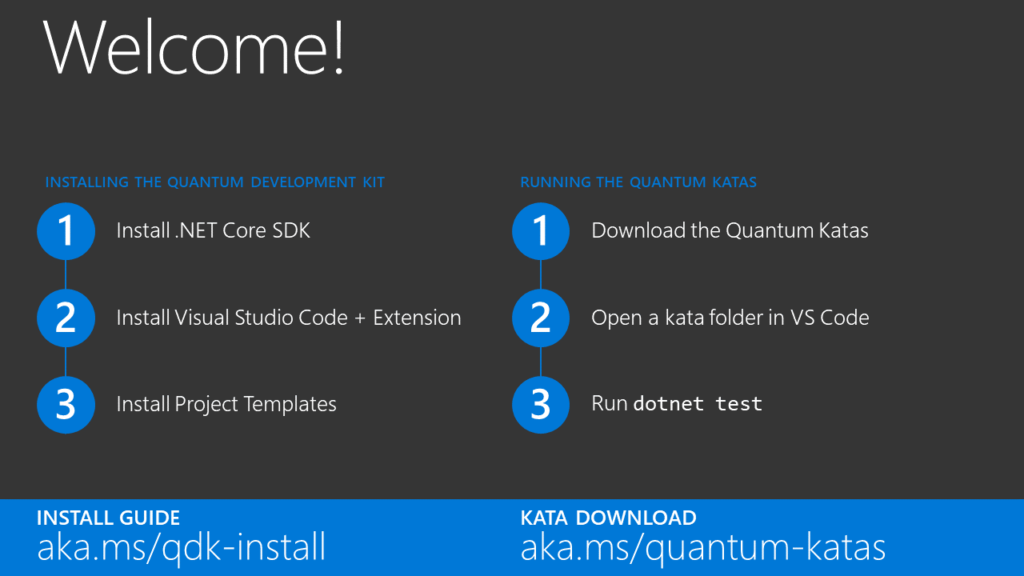 Welcome slide - Getting started with the Quantum Development Kit