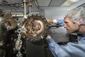 Scientist working in lab on quantum computer