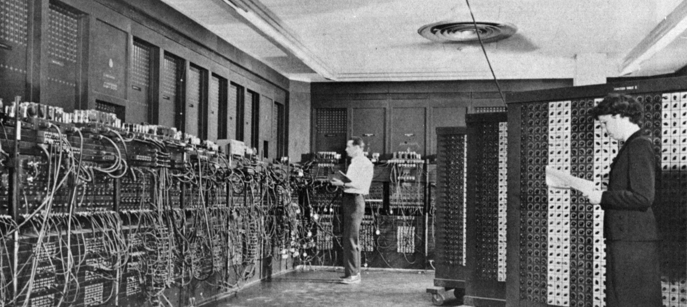 Photo of ENIAC mainframe computer in 1947
