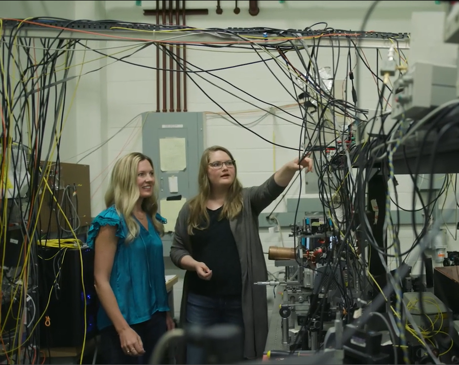 Krysta Svore and Jennifer Lilieholm in quantum lab at University of Washington
