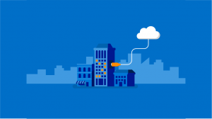 Graphic of building connected to cloud